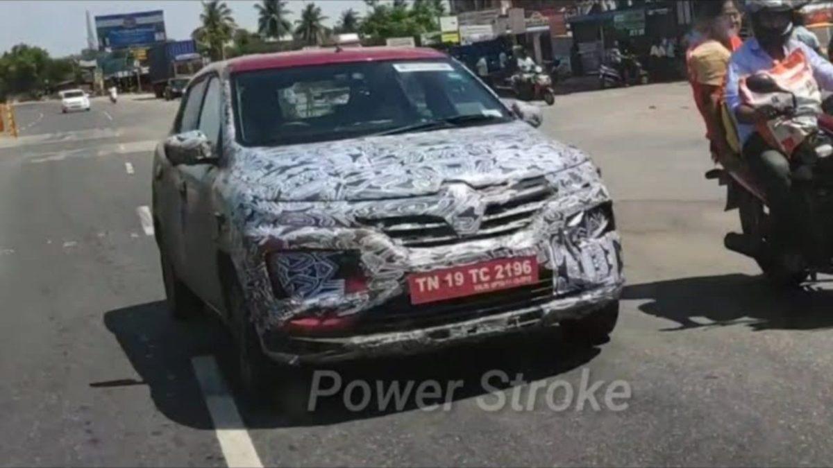 Renault Kwid facelift spied front quarter