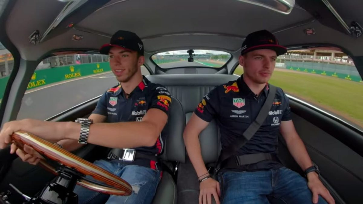 Verstappen and Gasly in a AM DB5