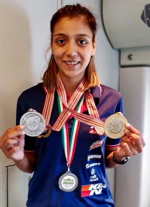 Aishwarya Pissay with the FIM medals
