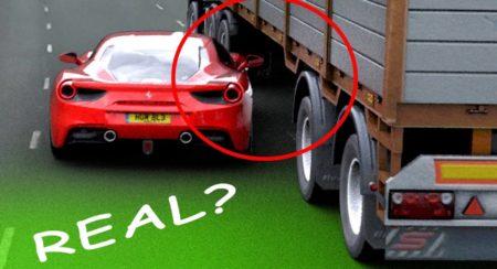Ferrari driving under truck