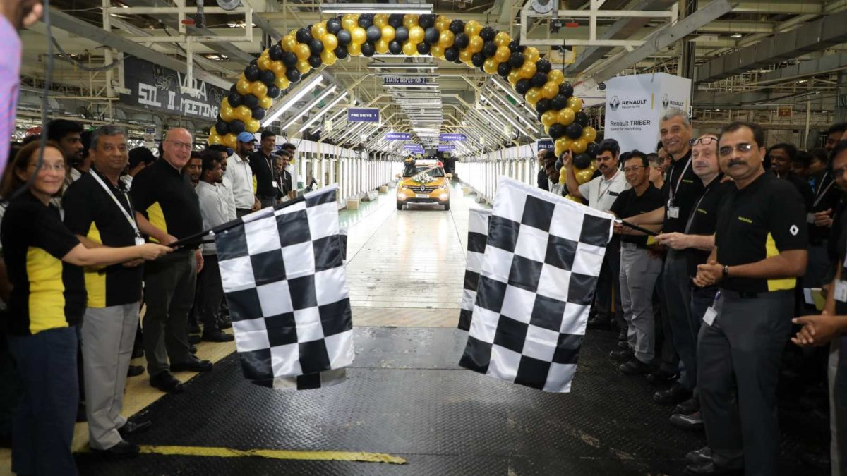 Renault Triber rolls off assembly line front Chequered flag