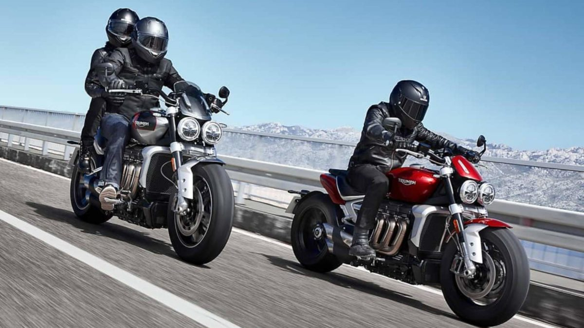 Triumph Rocket 3 R and Rocket 3 GT rolling front quarter