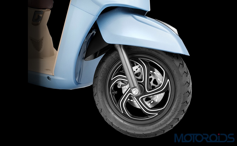 2019 TVS Jupiter Grande machined alloy wheels