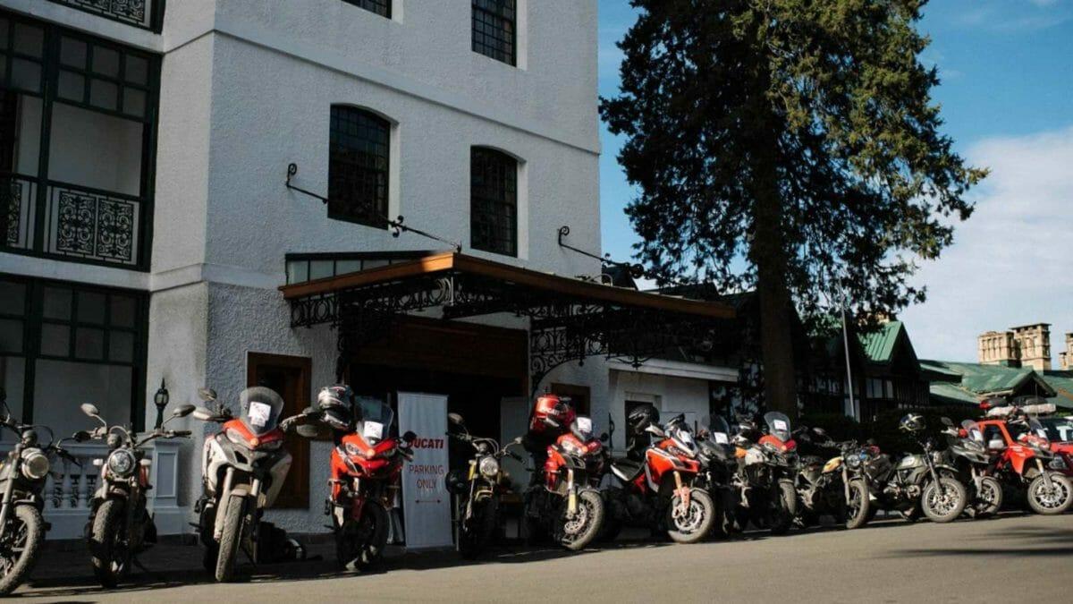 Ducati DRE Dream tour to Spiti bikes parked