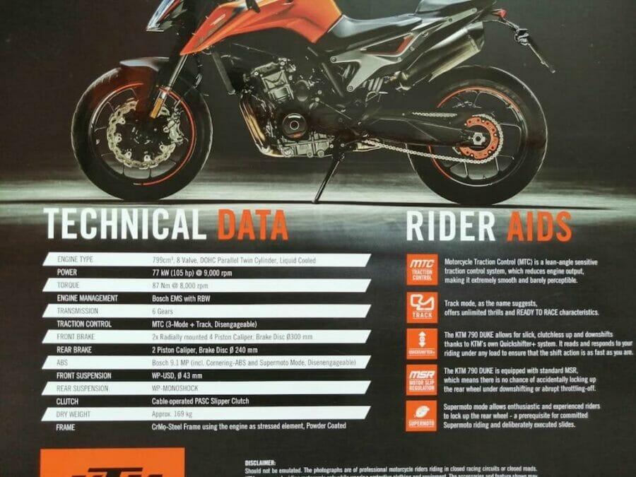 KTM Duke 790 leaked specs India