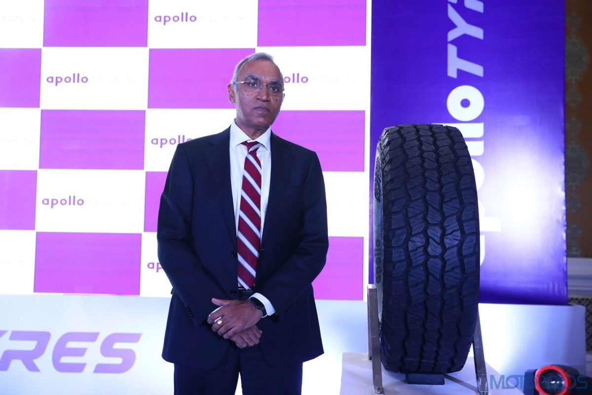 Pic 1 Satish Sharma, President, Asia Pacific, Middle East & Africa (APMEA), Apollo Tyres Ltd at the launch of Apterra AT2 tyres