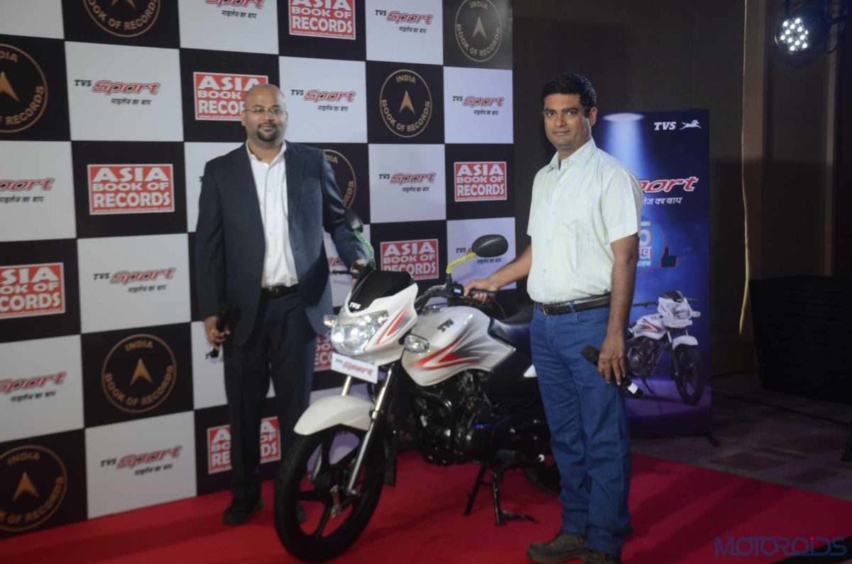 Piyush Singh, Head (Marketing), Commuter Motorcycles, TVS Motor Company with Pavitra Patro, Rider, TVS Sport