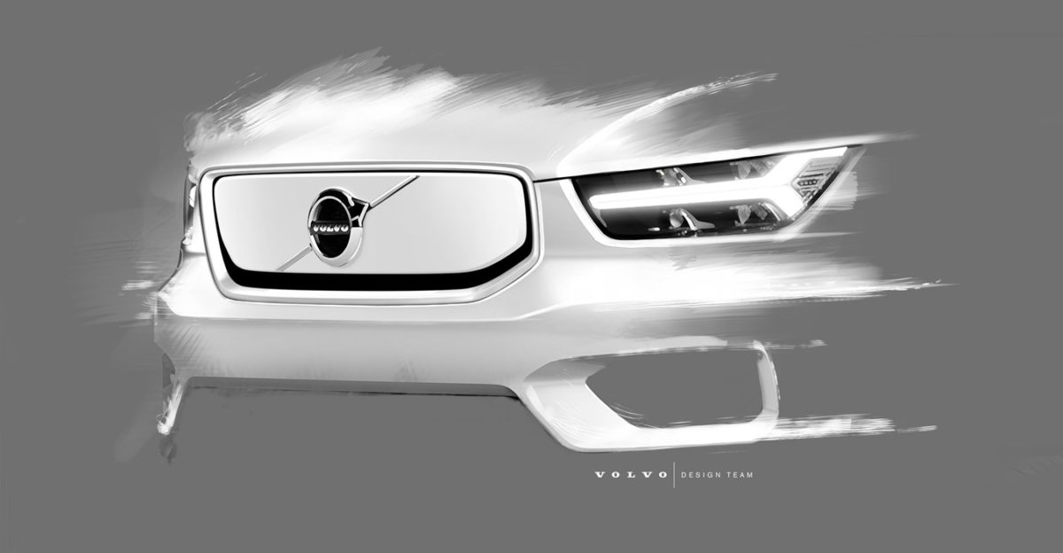 All electric Volvo XC40 front grille