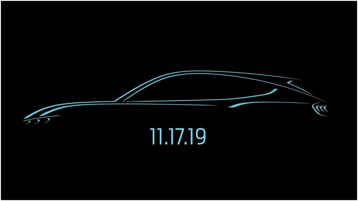 Ford's All Electric, Mustang Inspired SUV Three line sketch WITH DATE