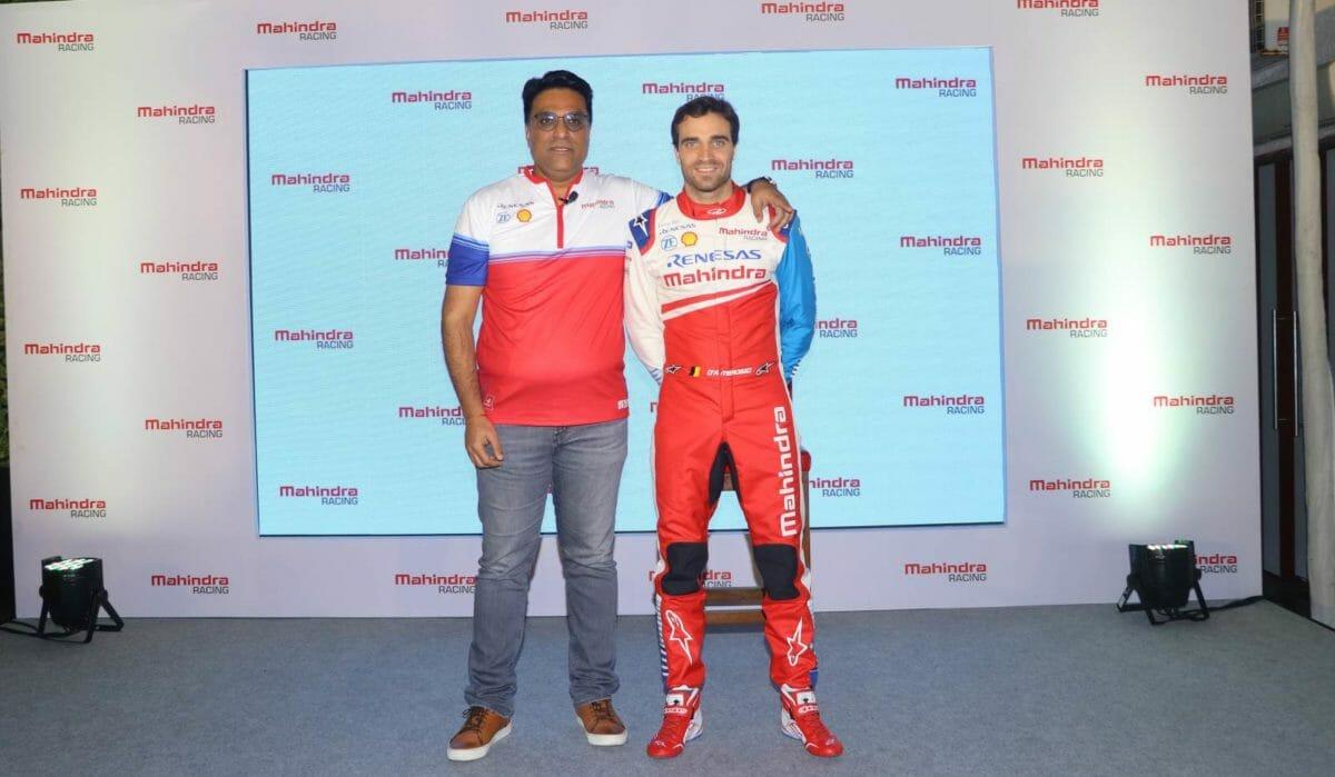 Dilbagh Gill, CEO & Team Principal, Mahindra Racing along with driver Jerome D'Ambrosio at Mahindra Racing #Passioneering Conference (2)
