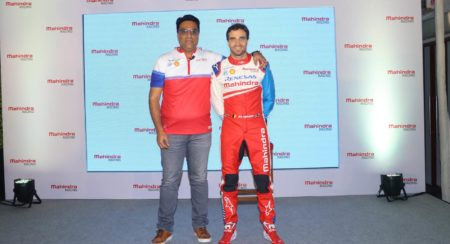 Dilbagh Gill, CEO & Team Principal, Mahindra Racing along with driver Jerome D'Ambrosio at Mahindra