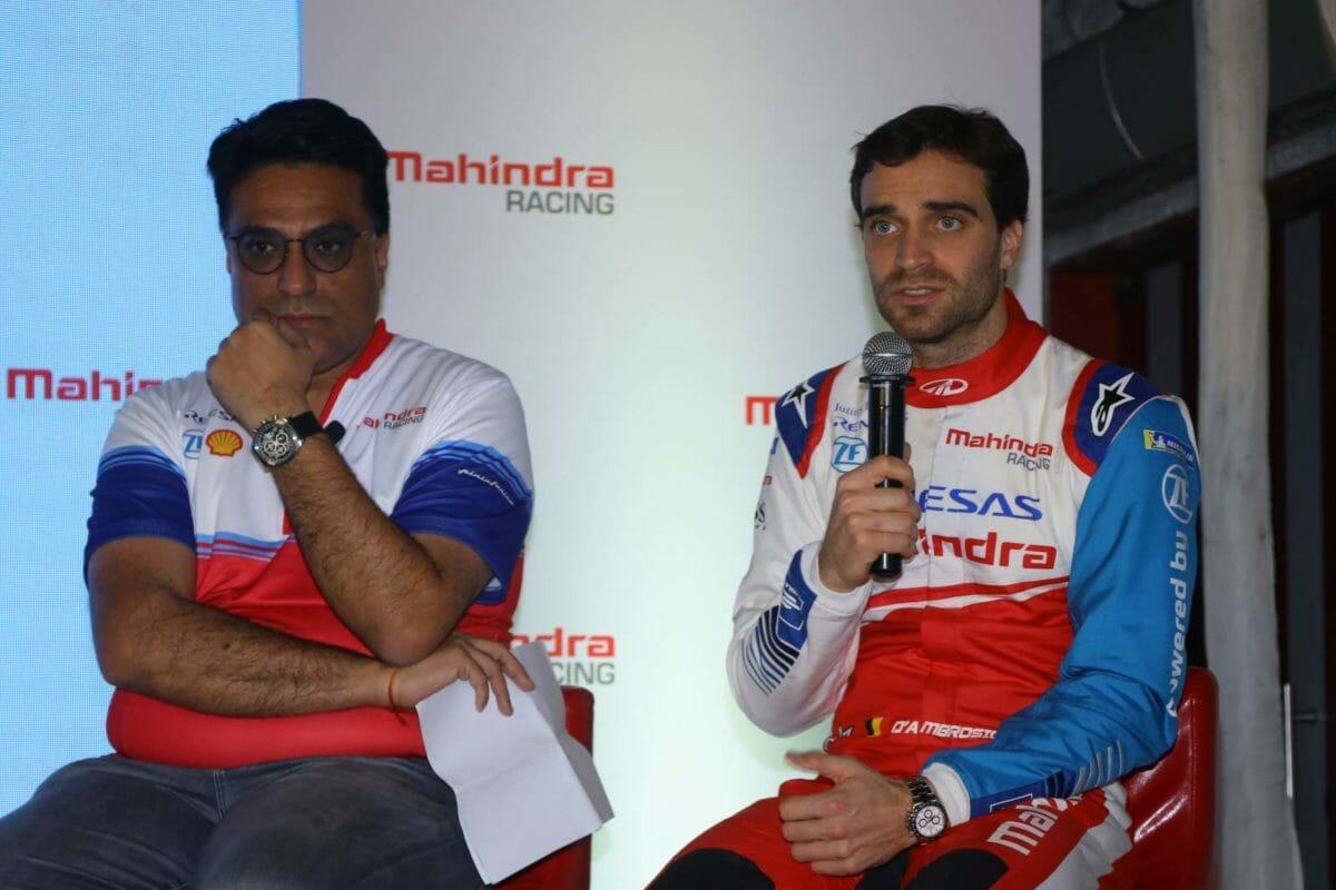Dilbagh Gill, CEO & Team Principal, Mahindra Racing along with driver Jerome D'Ambrosio at Mahindra Racing #Passioneering Conference (3)