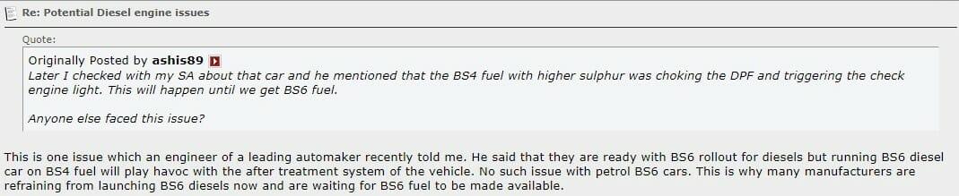 Kia BS6 Diesel problem