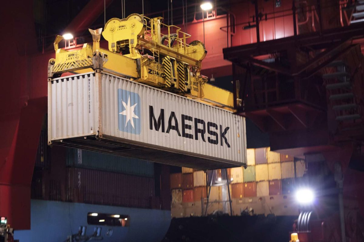 Maersk container being loaded on the vessel at the port in the Colombo