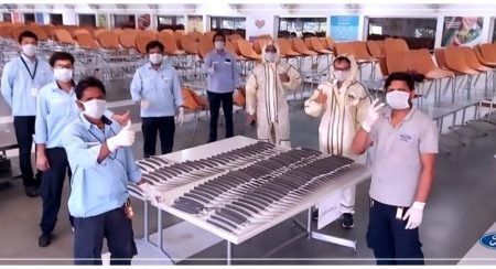 Workers at Ford India Making Protective Face Shields