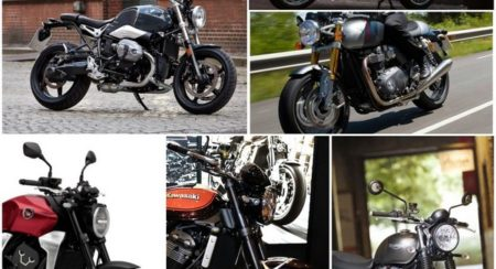 Modern retro motorcycles collage