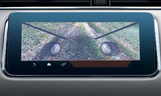 Transparent Hood_Satellite cameras make the hood transparent and give the driver a view of the ground below.
