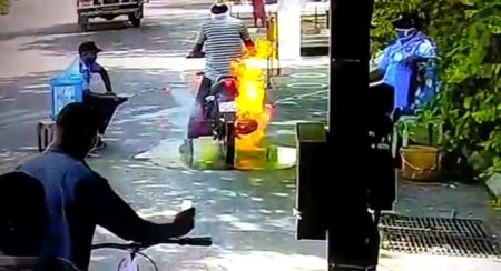 Bike-getting-caught-in-flames