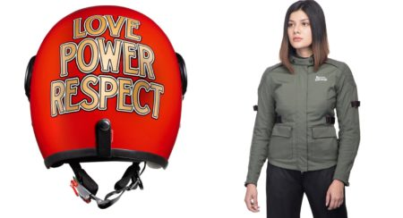 Royal Enfield Women's riding jacket and helmet