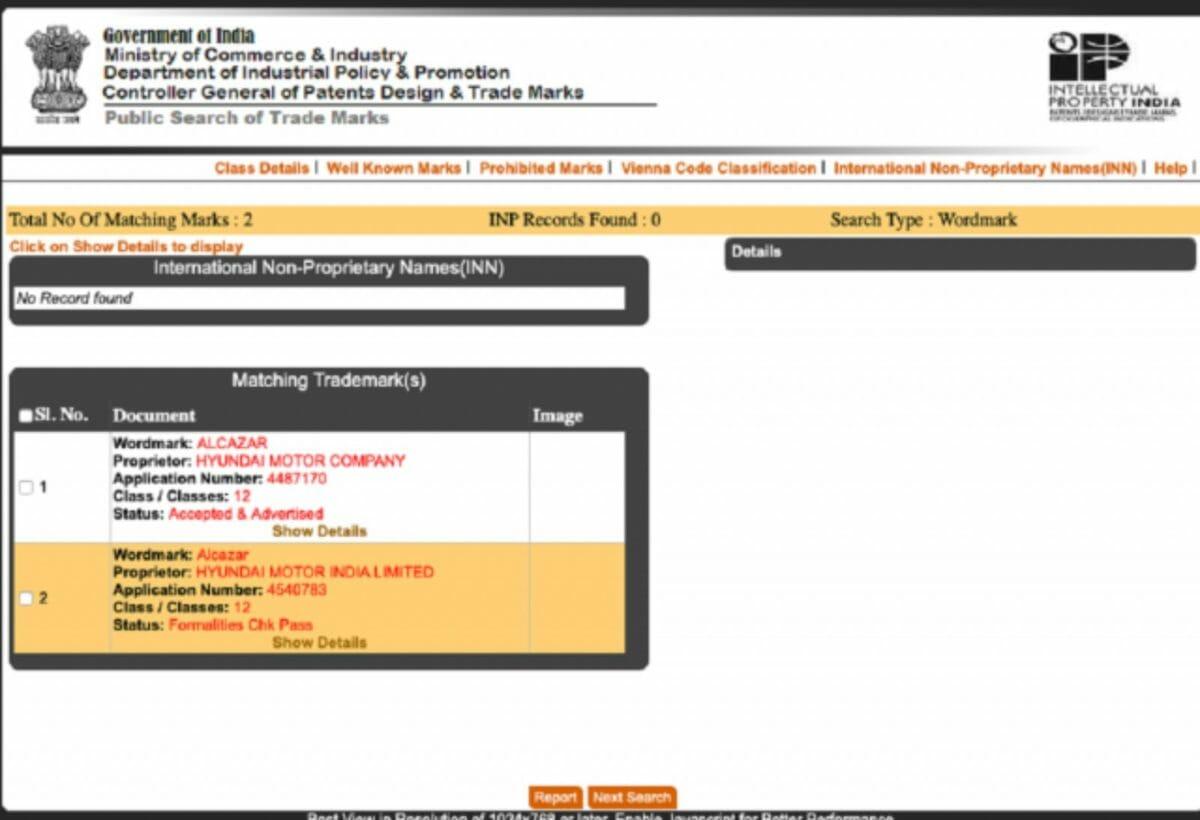 hyundai alcazar 7 seater creta trademark registered