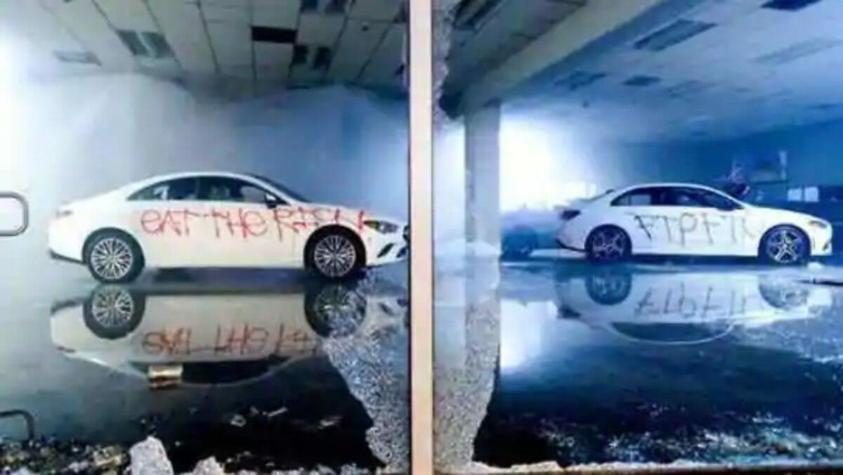 mercedes showroom vandalised
