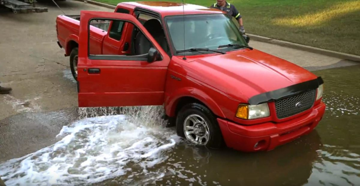 Ford Ranger towed from river
