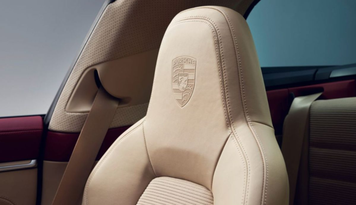 Porsche Crest on seat headrest