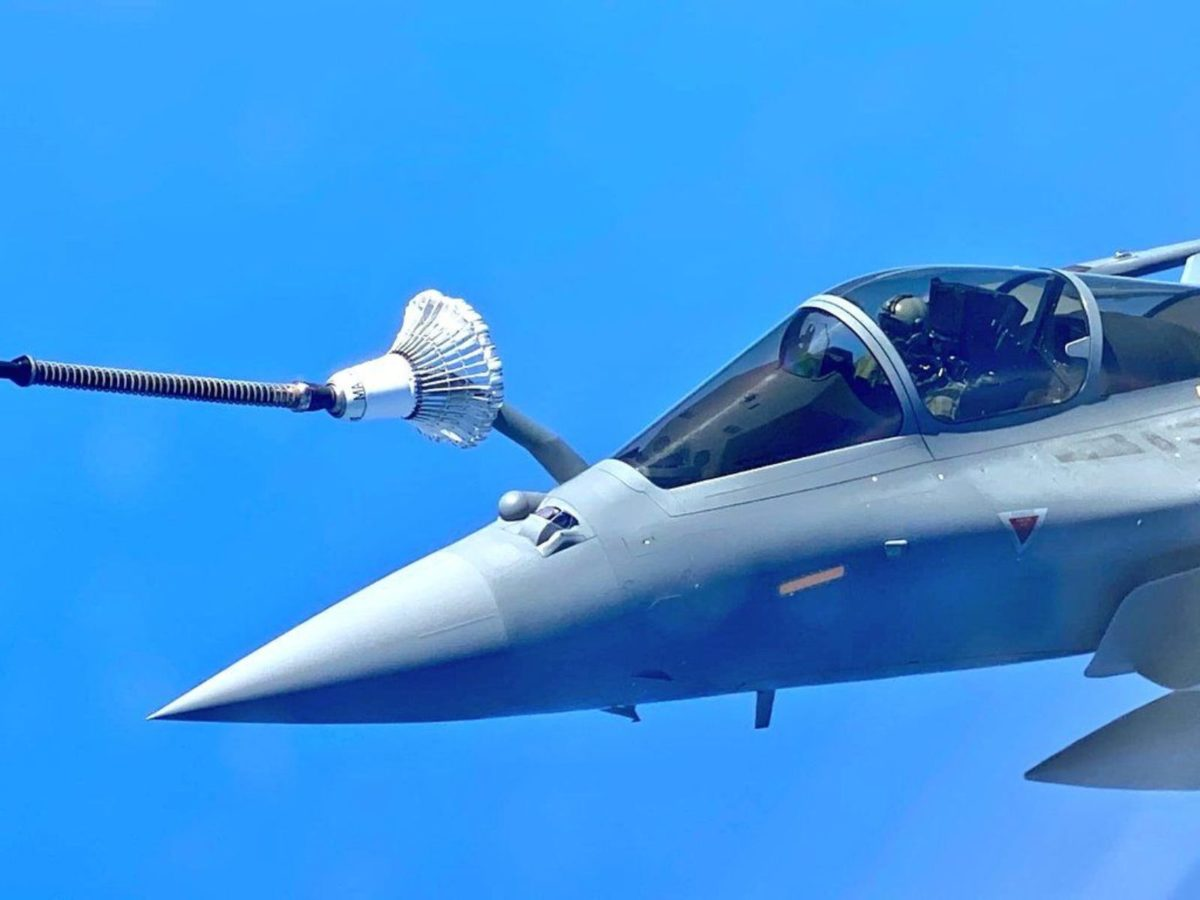 Rafale fighter jets on air refueling