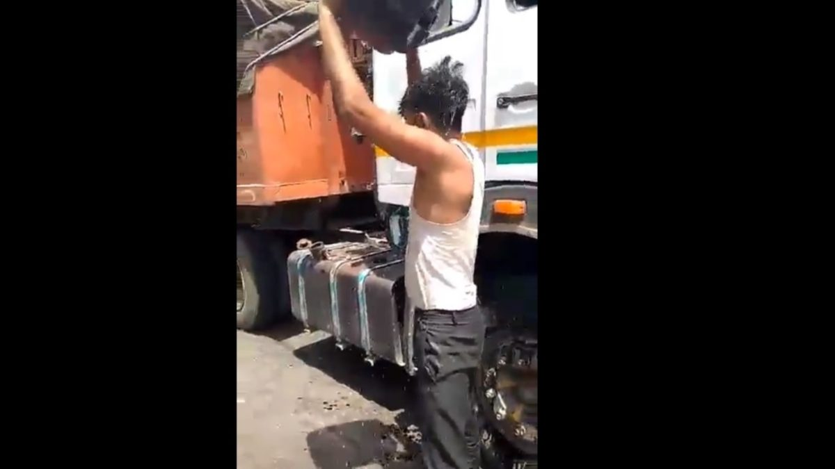 Trucker in India attempts self immolation