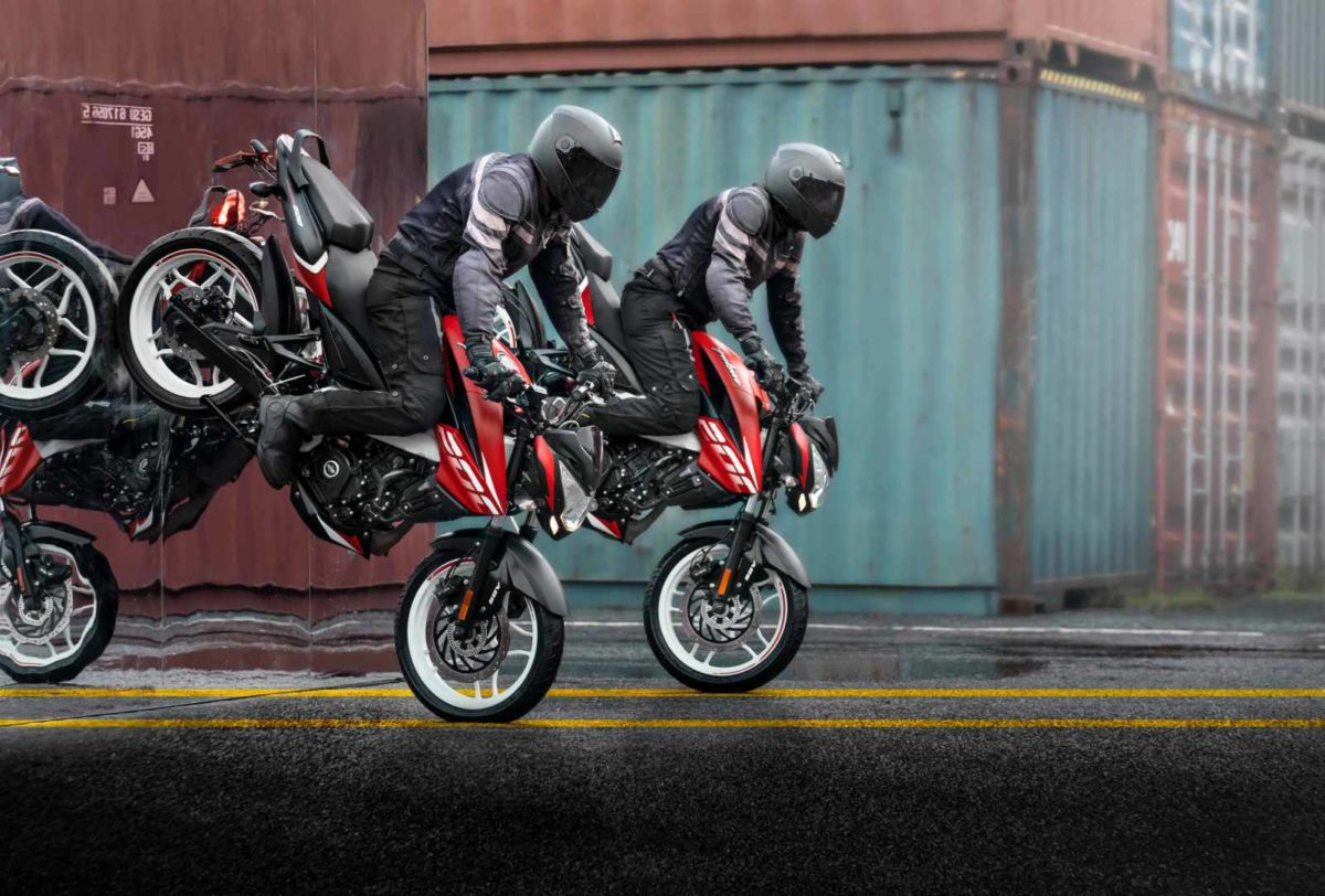 Bajaj TVC stunt NS200 red white variant