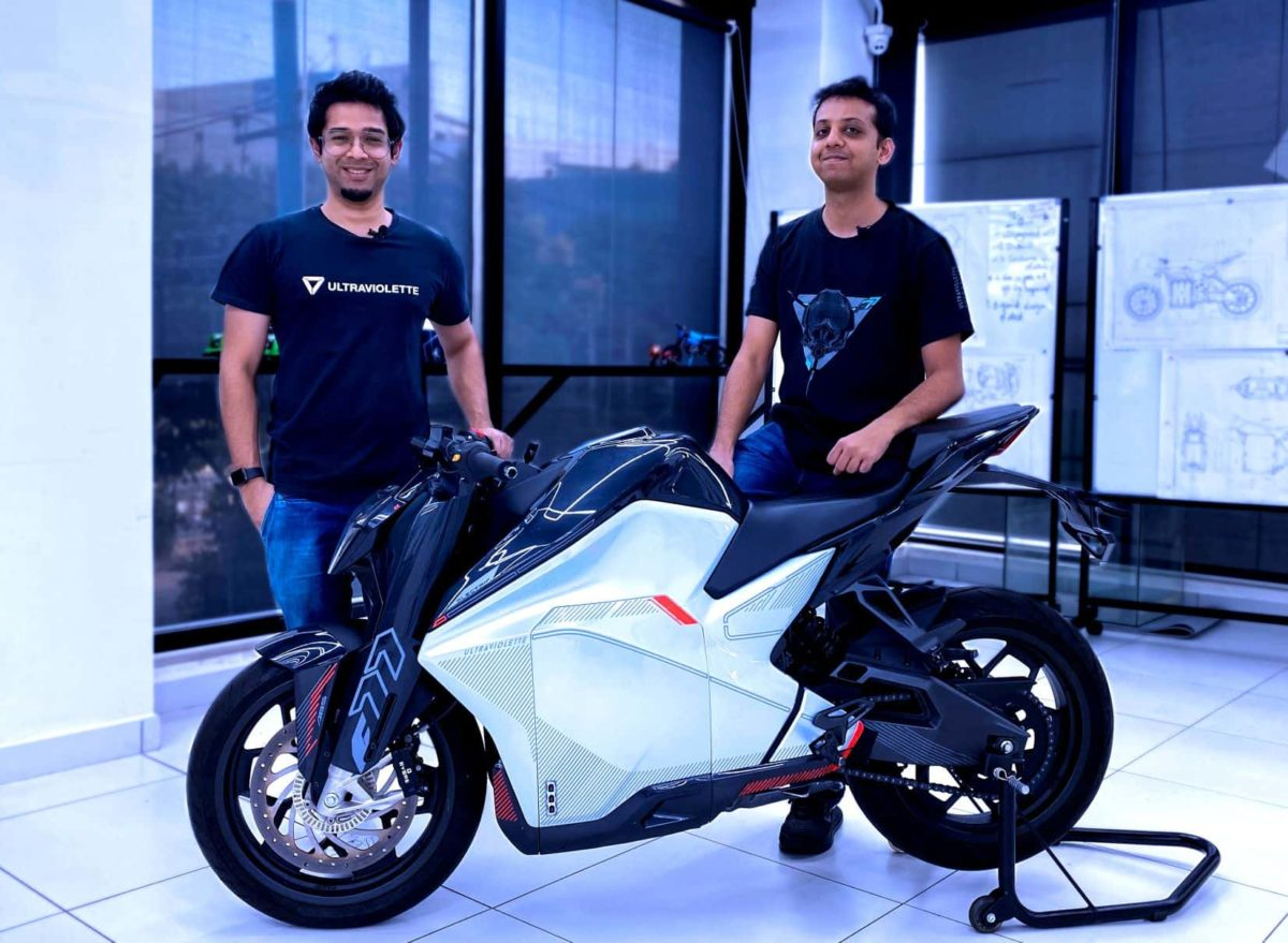 Ultraviolette Founders Narayan and Niraj with the F77 min