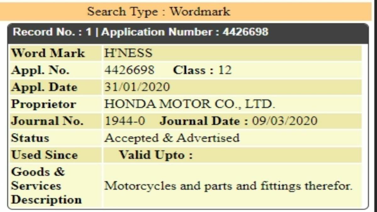 Honda H'ness trademark