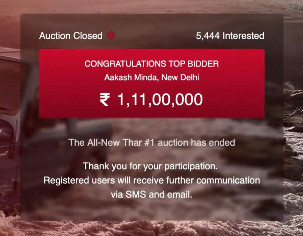 Mahindra Thar auctioned
