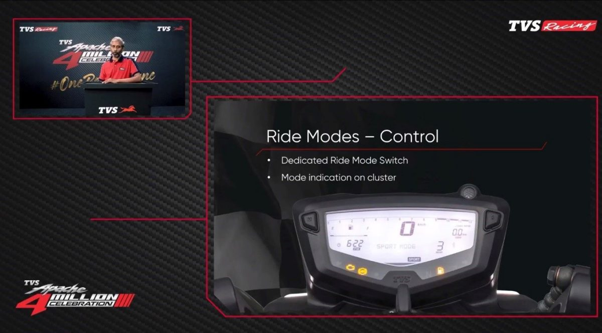 2021 TVS Apache RTR 200 4V LCD Screen and Ride mode Indicator