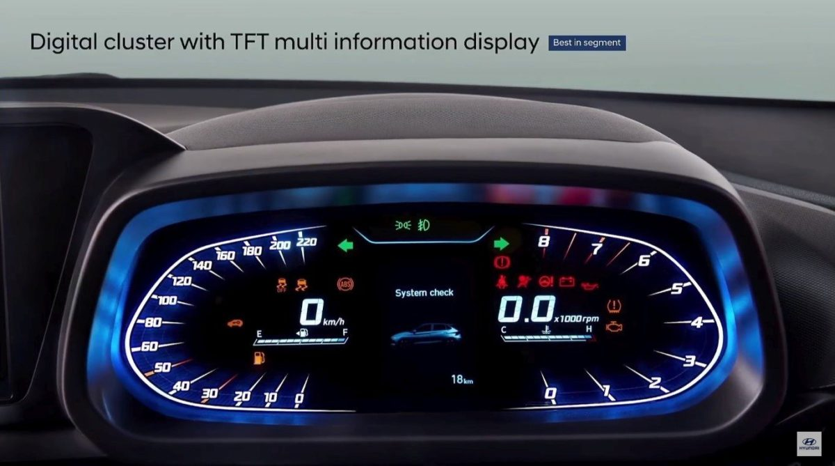 all new hyundai i20 tft instrument cluster