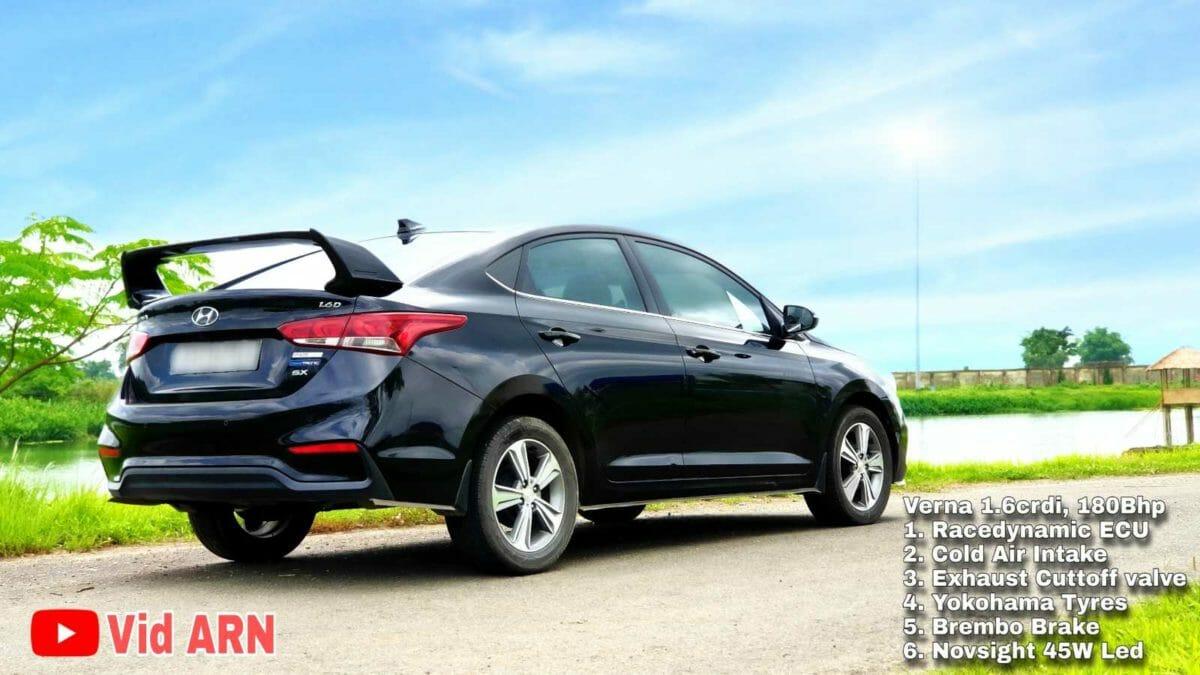 Hyundai verna modified 180 hp