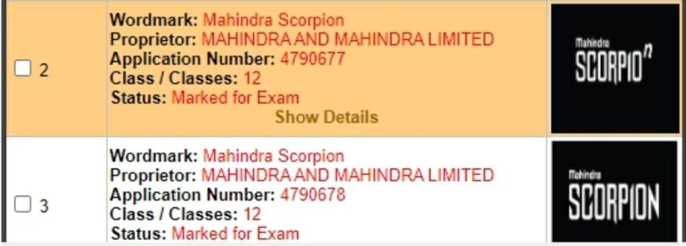 Mahindra scorpion trademark