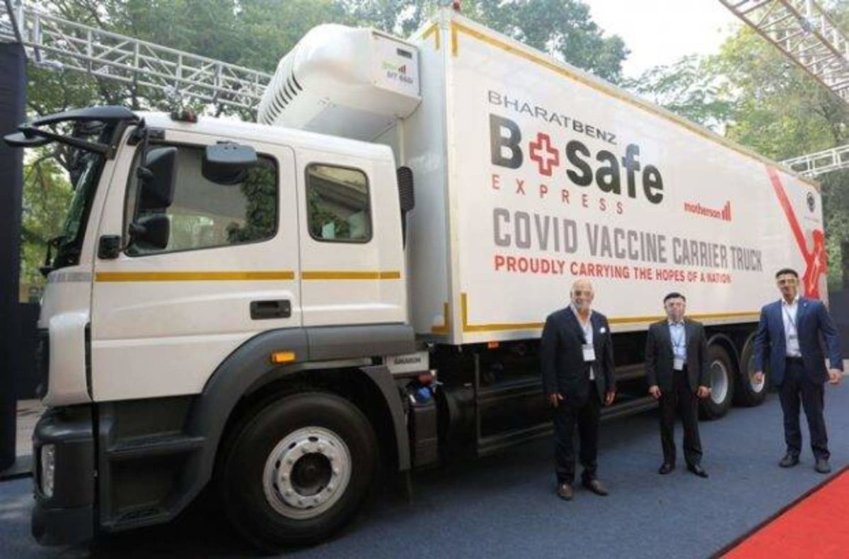 Bharatbenz bsafe covid truck (1)