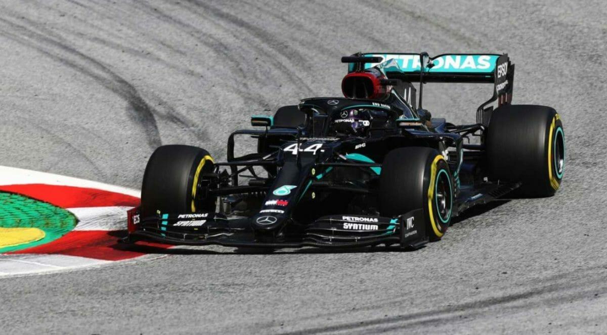 Lewis Hamilton maneuvering his Mercedes W11