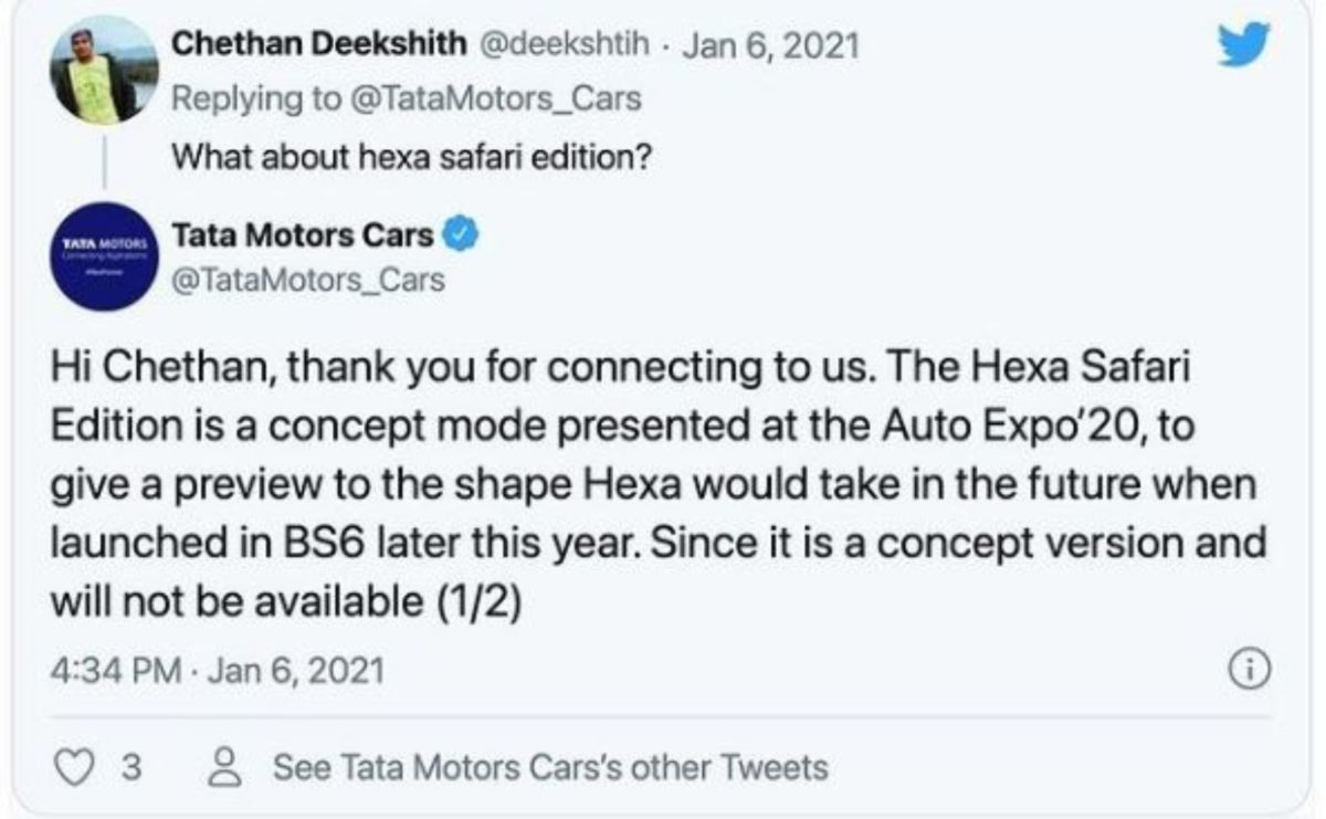 Tata Motors' tweet on Hex BS6