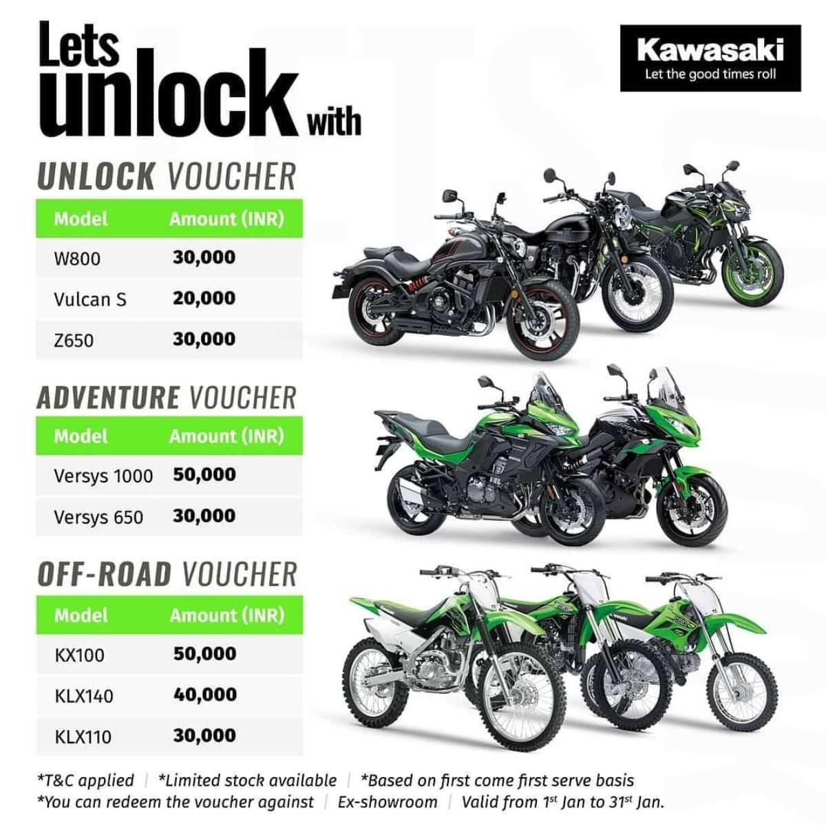 kawasaki january offers