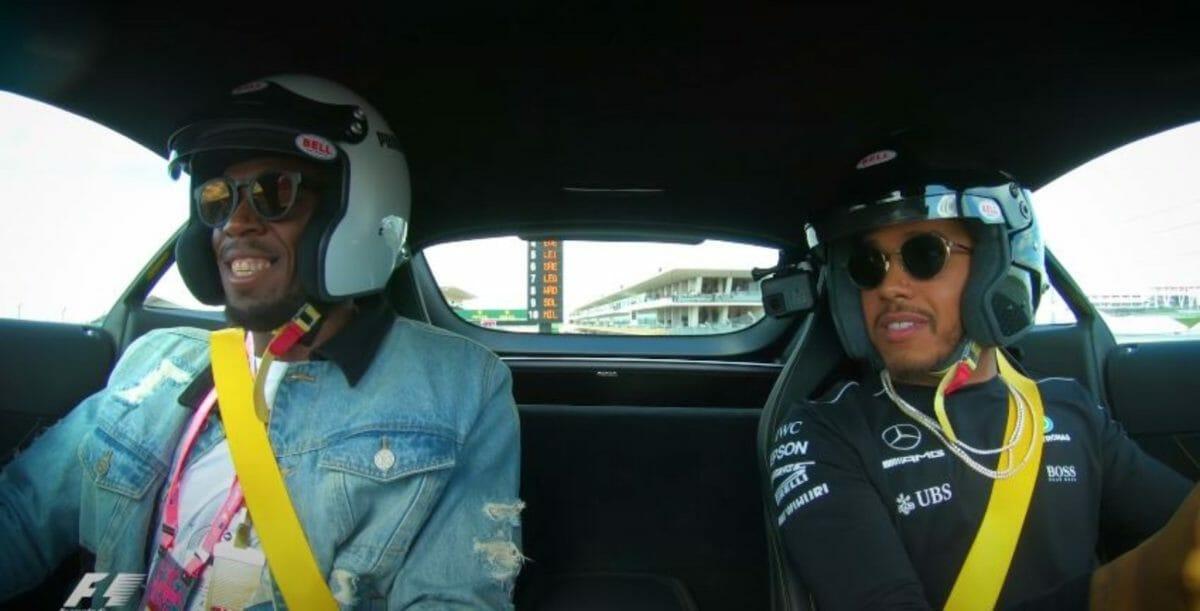 Lewis Hamilton & Usain Bolt hot lap