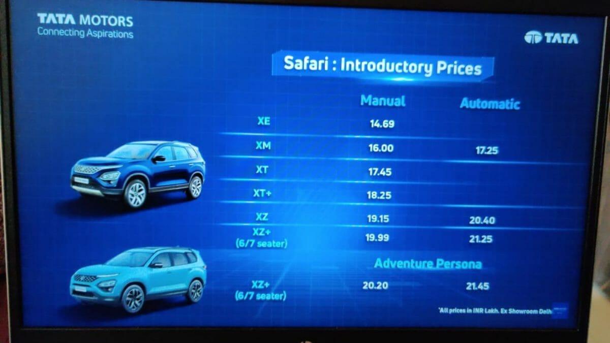 Tata Safari prices