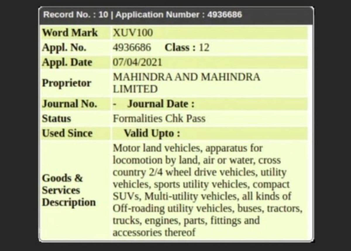 Mahindra XUV100 Trademark