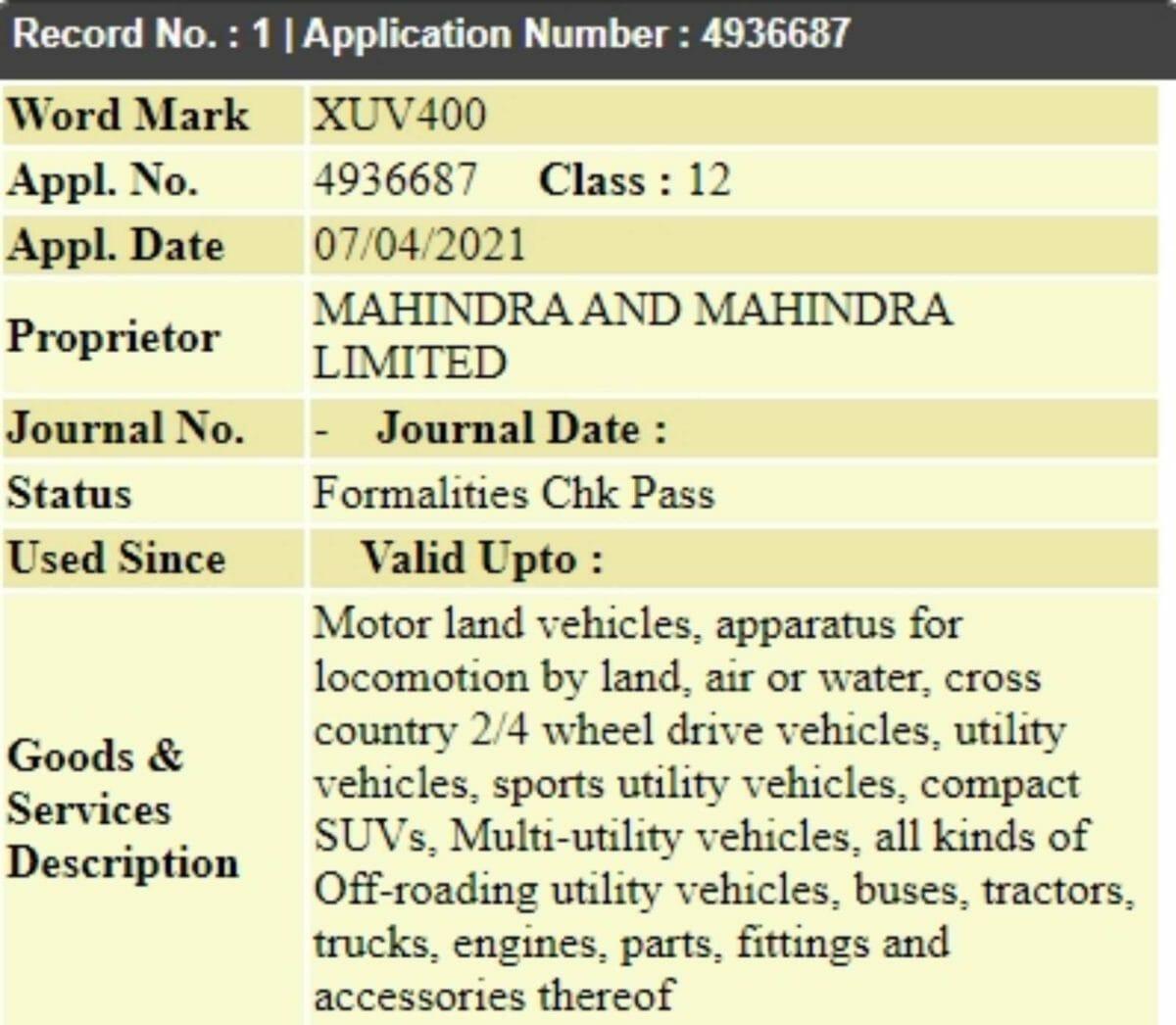 Mahindra XUV400 trademark