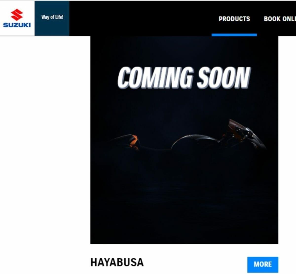 Suzuki hayabusa website listing