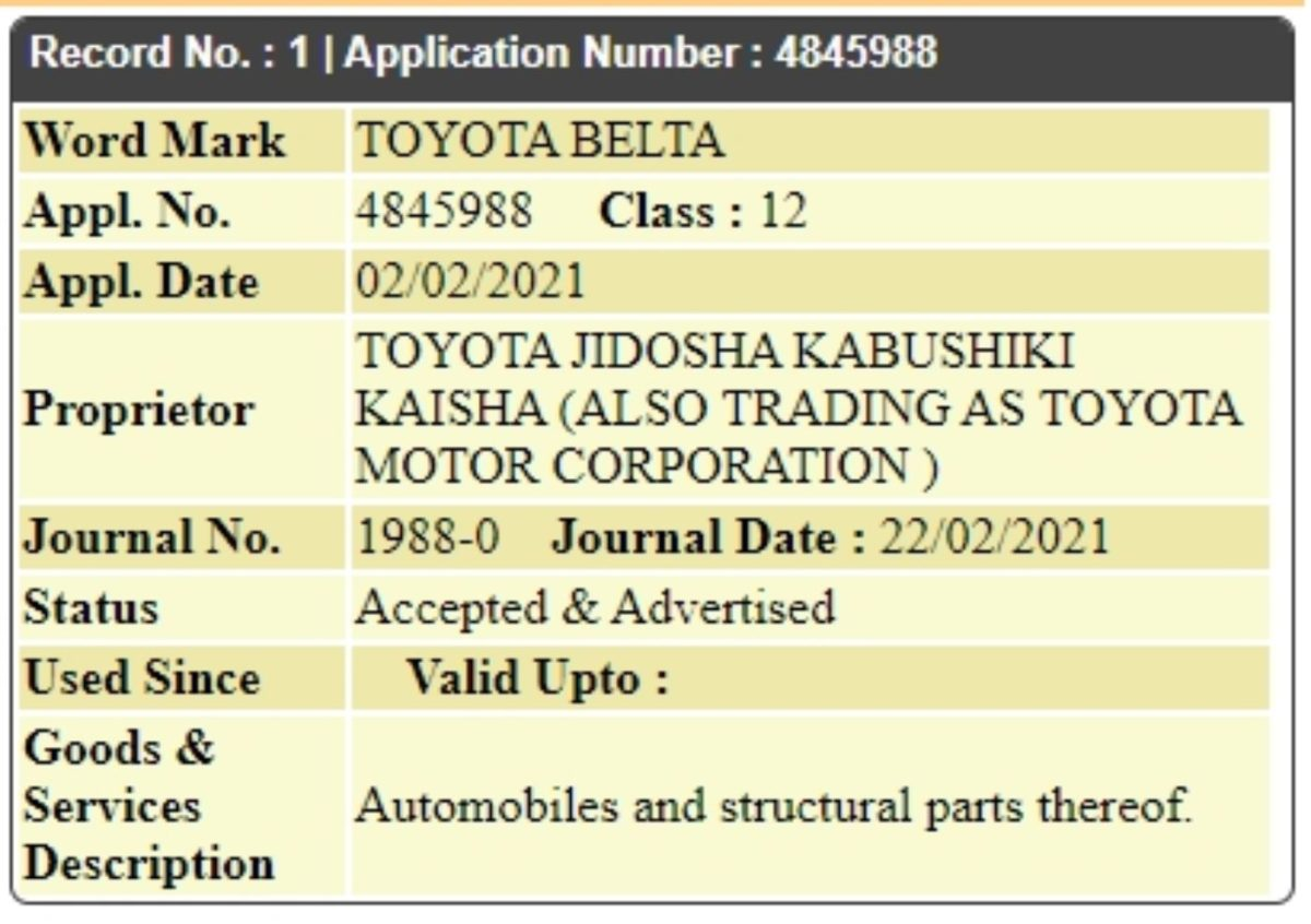 Toyota Belta trademark