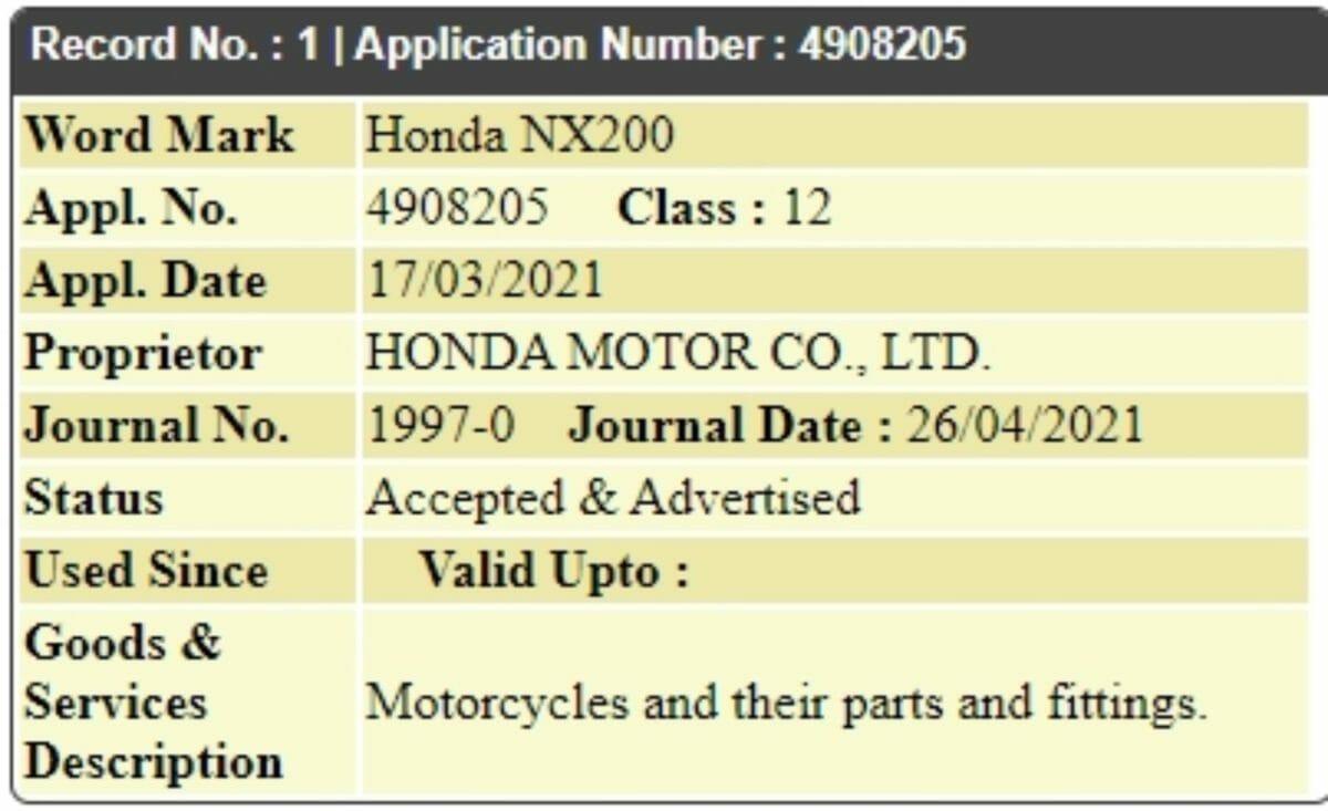honda nx200 trademark