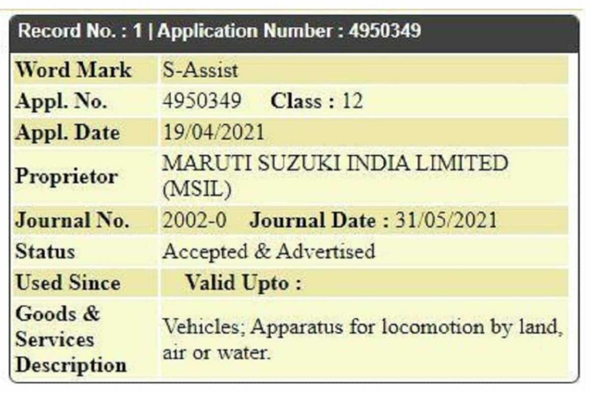 Maruti S Assist trademark