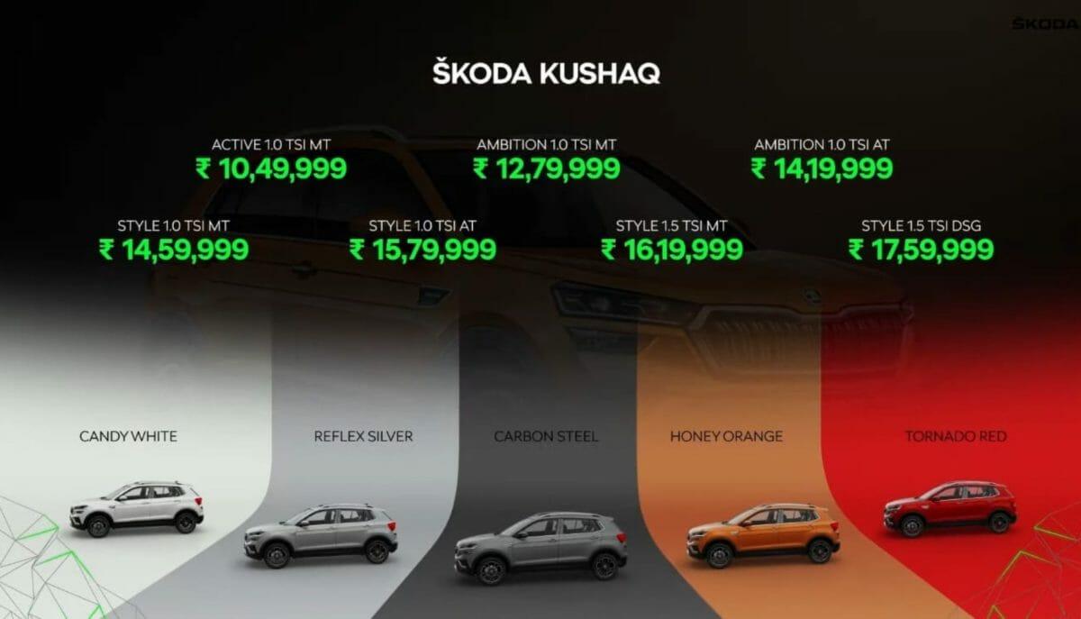 Skoda Kushaq price list